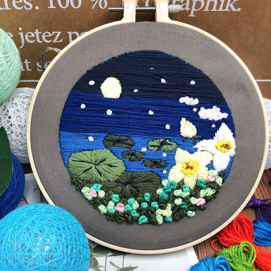 Su Zi Lotus Leaf on Pond 20cm Embroidery