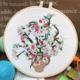 Su Zi Cherry Blossom in Vase on White 20cm Embroidery
