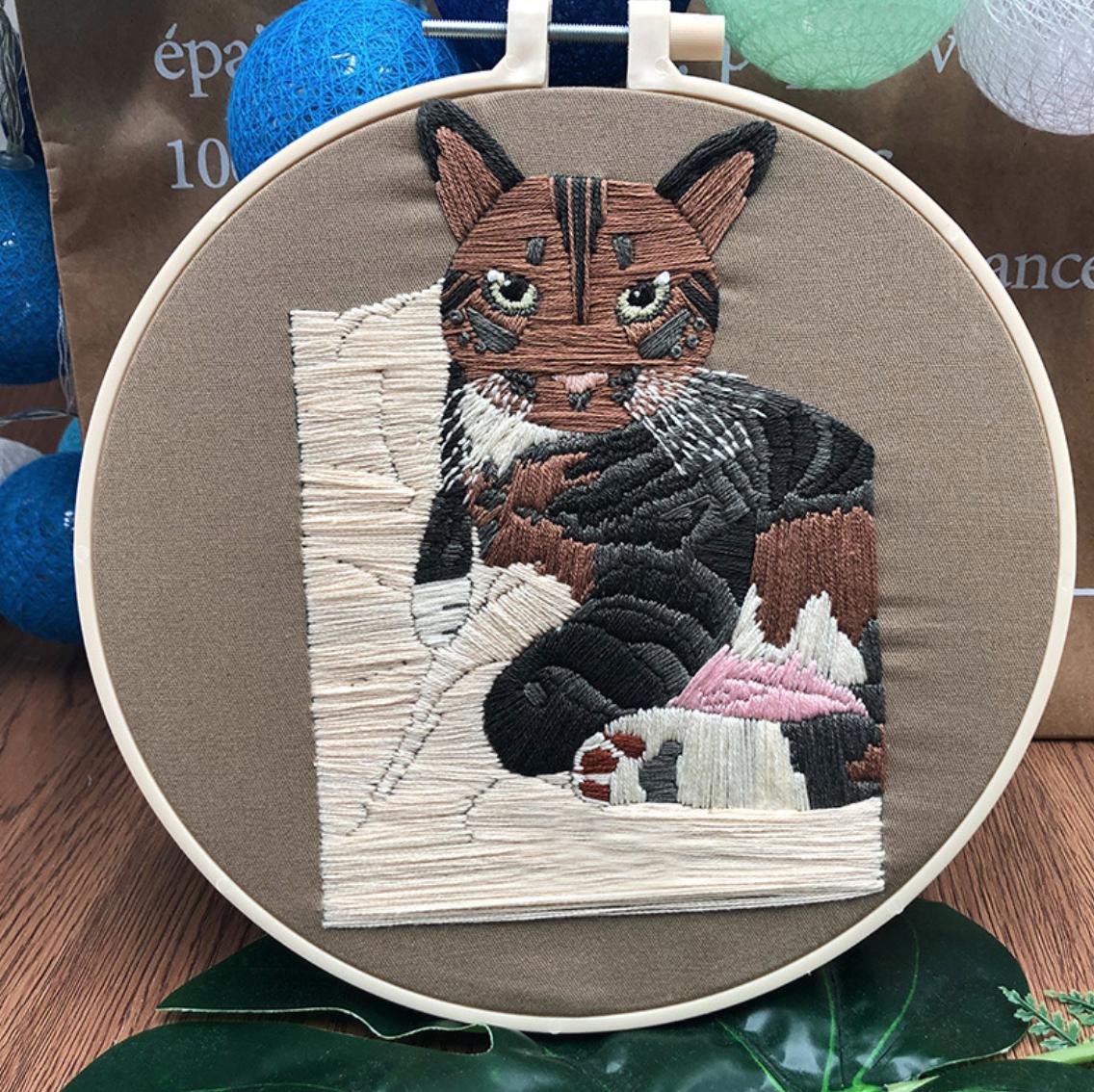 Su Zi Brown Black Tabby 20cm Embroidery