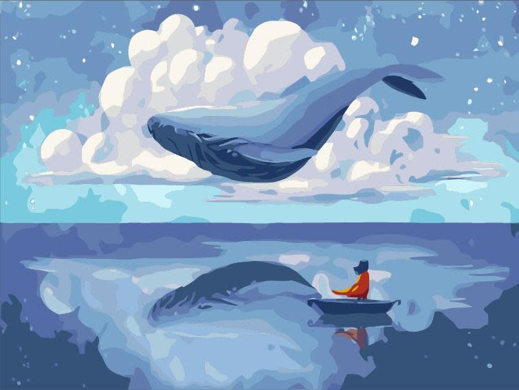 Cai Si Whale in Clouds DIY Painting