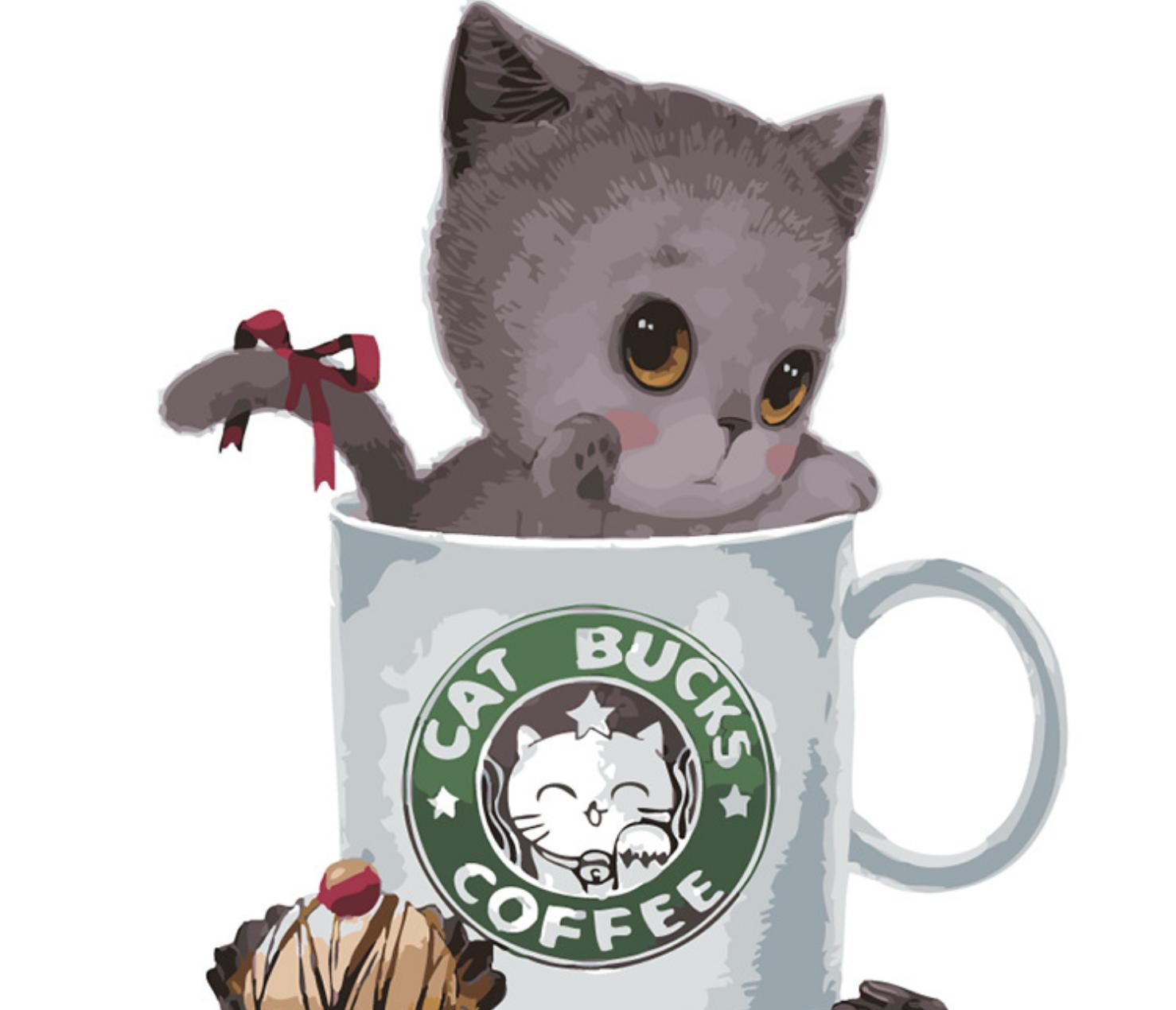 Cai Si Cat in Cat Bucks Coffee DIY Painting