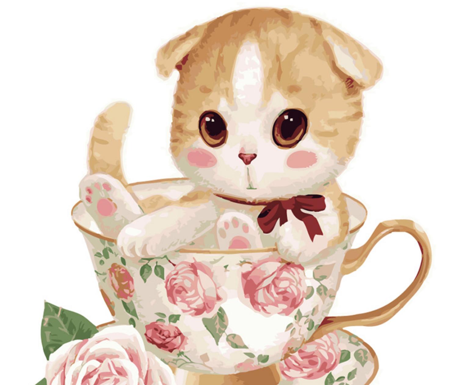 Cai Si Cat in Fancy Rose Tea Cup DIY Painting