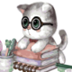 Cai Si Cat in Nerd Glasses with Books DIY Painting