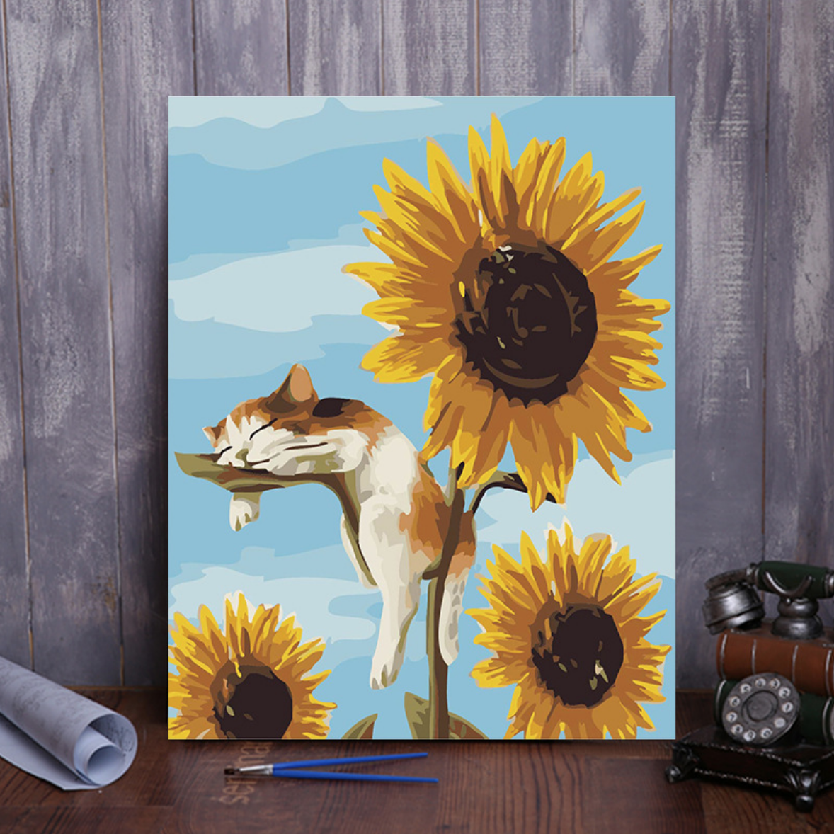 Cai Si Cat Sleeping with Sunflower DIY Painting