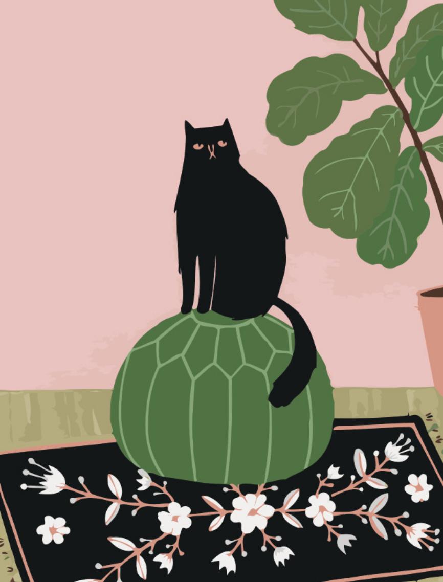Cai Si Black Cat on Green Cushion DIY Painting