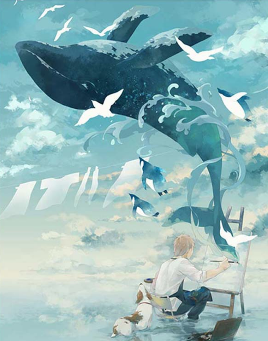 Cai Si Artist Painting Whale DIY Painting