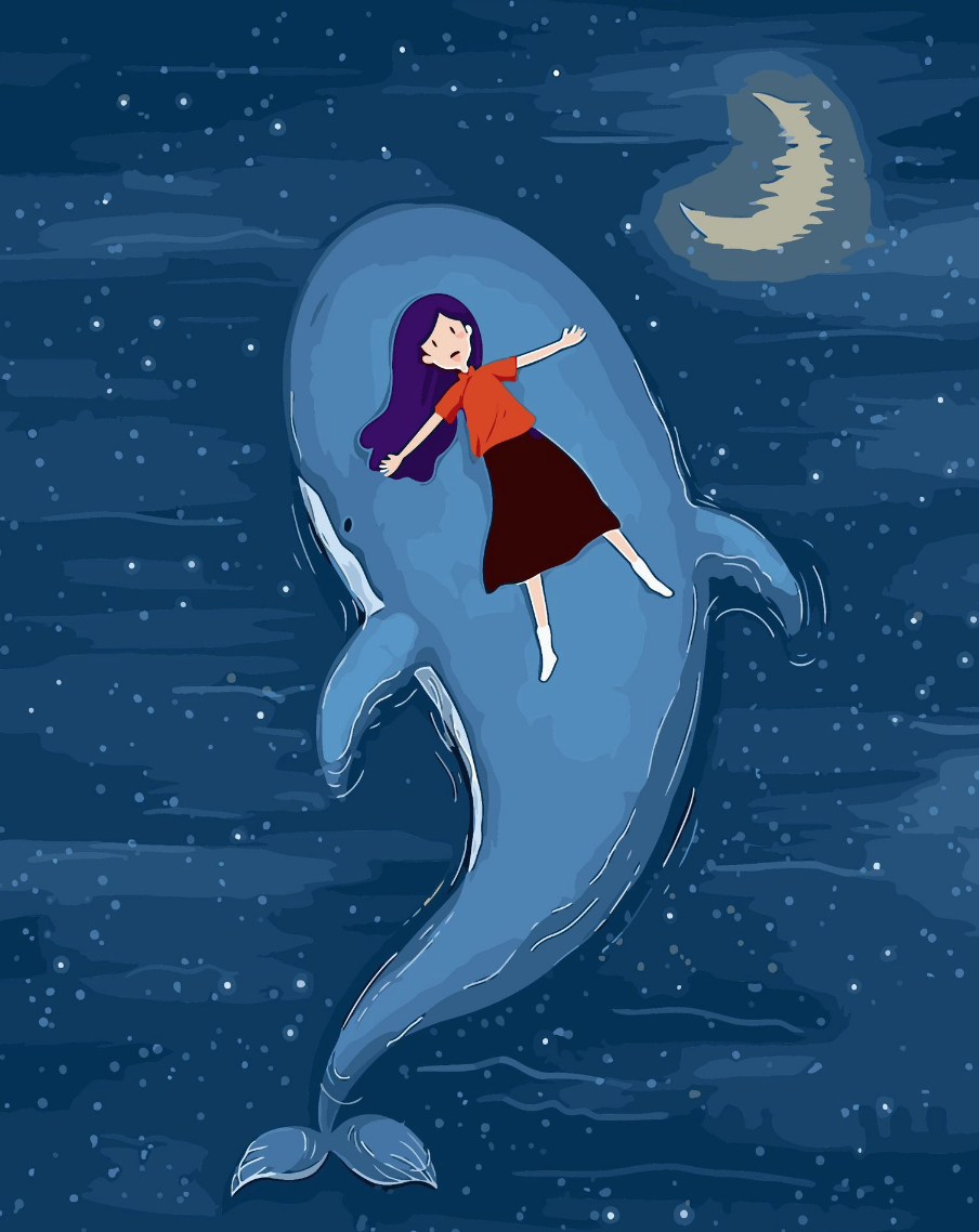 Cai Si Girl on Blue Whale DIY Painting