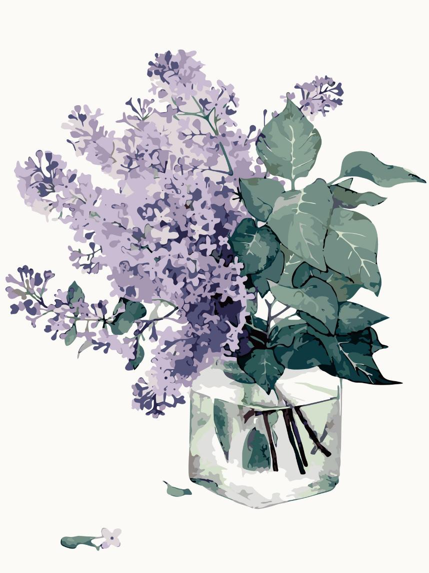 Cai Si Purple Lavender Bouquet DIY Painting