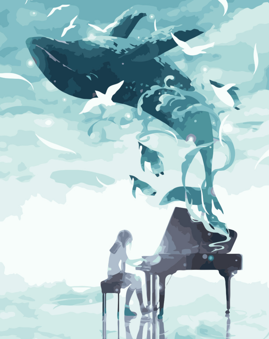 Cai Si Pianist with Whale DIY Painting