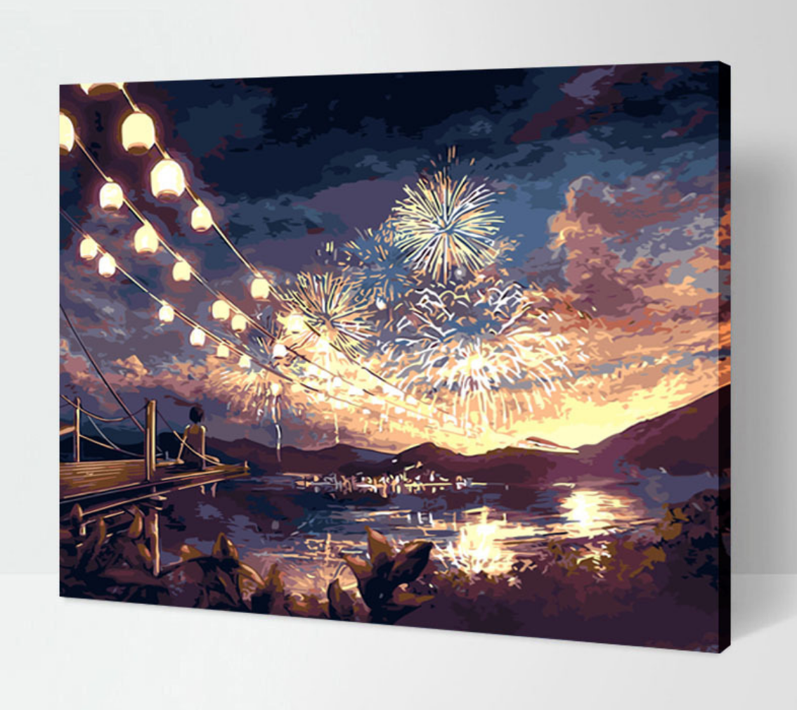 Cai Si Girl with Fireworks DIY Painting