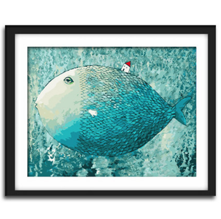 Cai Si Big Blue Fish with Small Red House DIY Painting