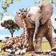 Cai Si Giraffe and Elephant DIY Painting