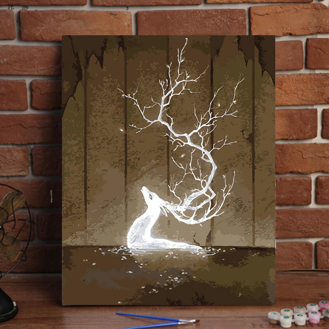 Cai Si White Deer in Water DIY Painting
