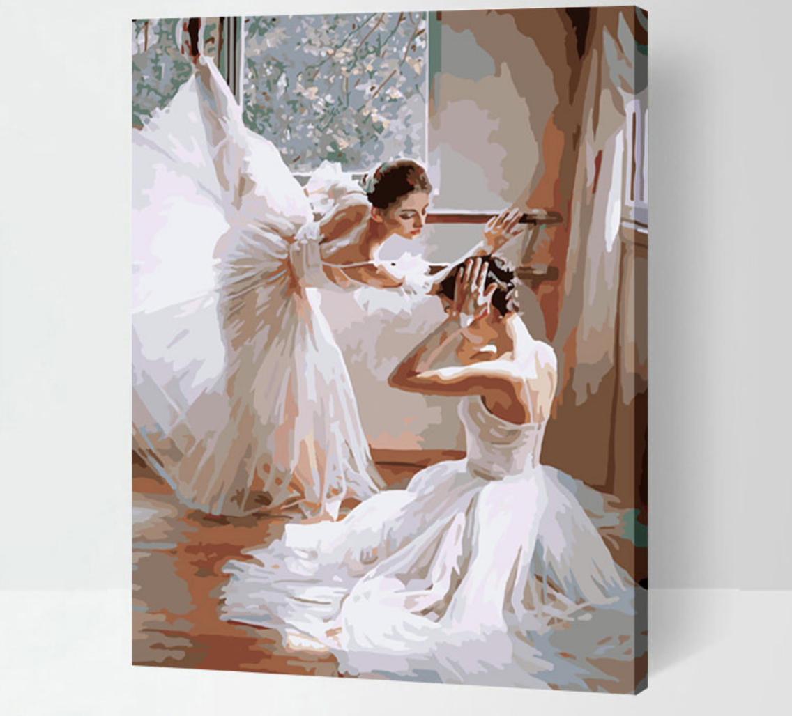 Cai Si Two Ballerina Dressed in White DIY Painting