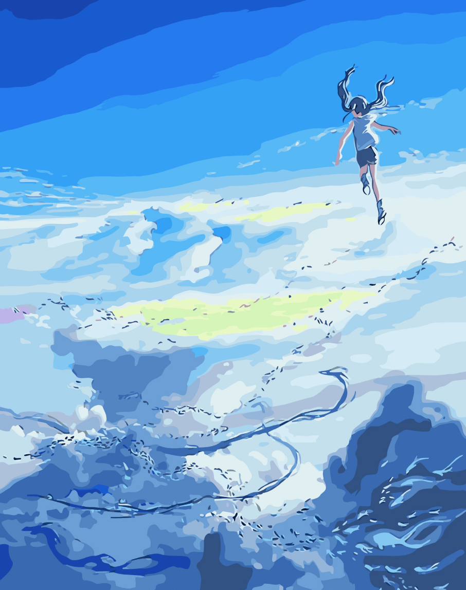 Cai Si Girl in Clouds DIY Painting