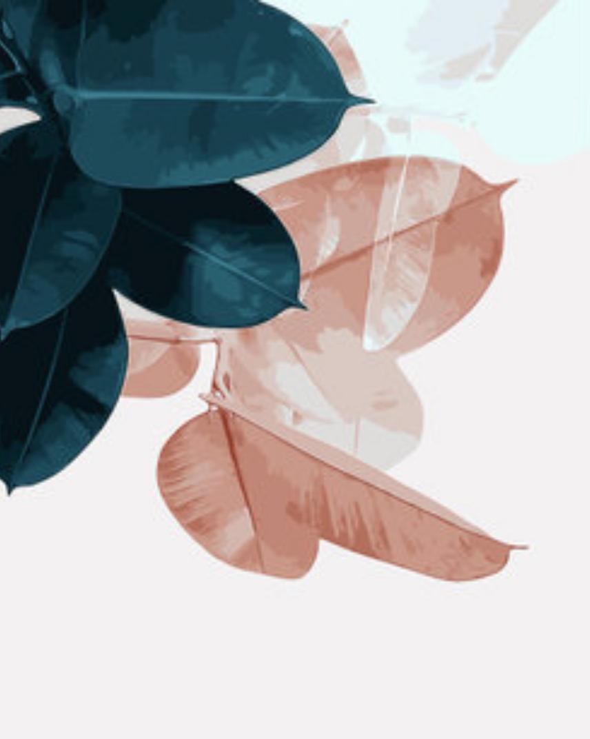 Cai Si Green/Orange Palm Leaves DIY Painting