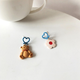 Bao Yuan Brown Teddy Bear and Flower Earring- Clip
