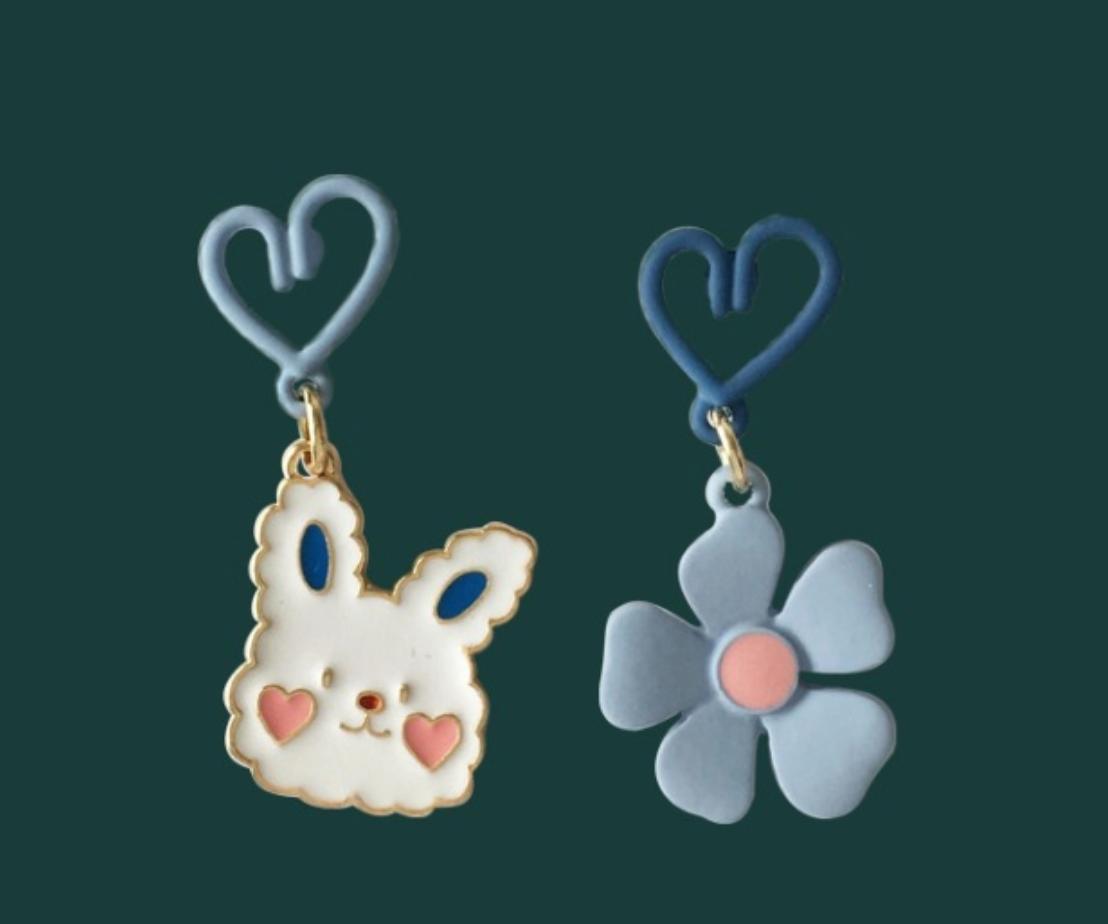 Bao Yuan Rabbit and Blue Flower Earring