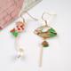 Bao Yuan Koi and Fan Red Earring