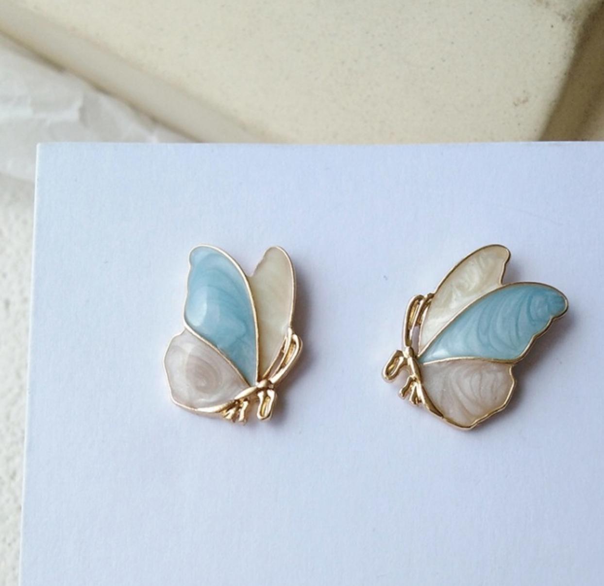 Bao Yuan Pink and Blue Butterfly Earring