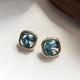 Bao Yuan Blue Square Swirl Earring