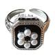 Bao Yuan Square Pearl on Black Band Ring