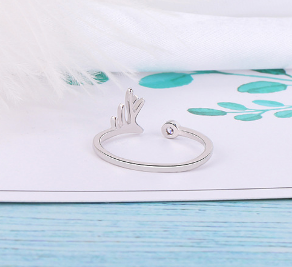 Deer Antler and Crystal Dot Ring