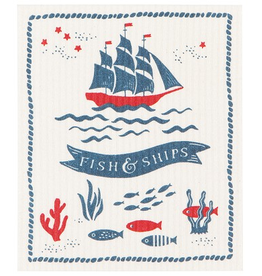 Now Designs S20 Swedish Dishcloth, Fish & Ships