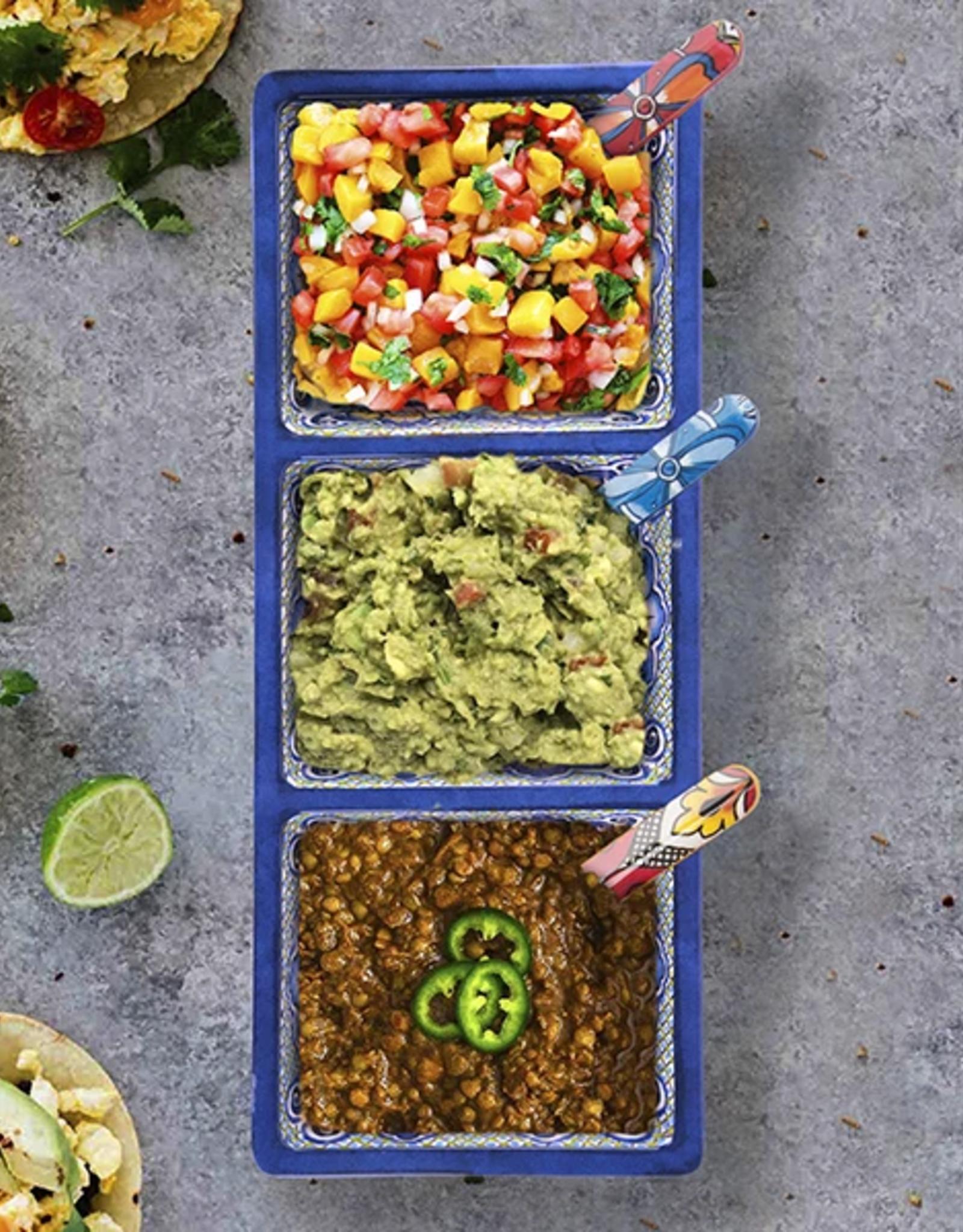 Prepara Taco 3-Sectional Tray, Blue