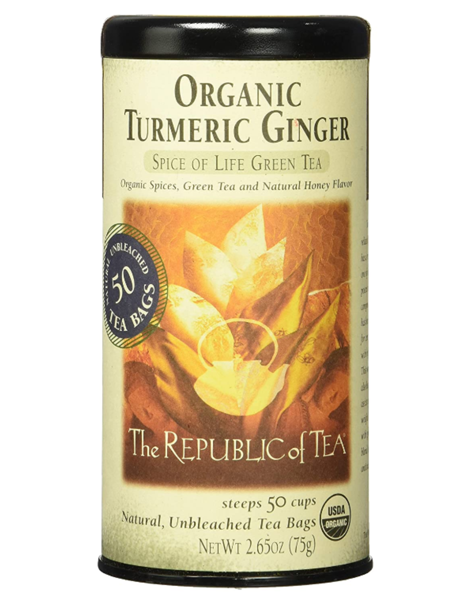 The Republic of Tea Organic Turmeric Ginger Green Tea, 50 Bag Tin