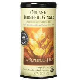 The Republic of Tea Organic Turmeric Ginger Green Tea, 50 Bag Tin