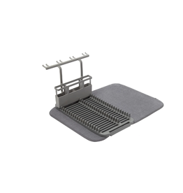 Umbra Udry Dish Drying Mat and Glass Rack, Charcoal