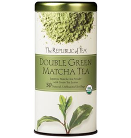 The Republic of Tea Double Green Matcha Tea, Organic USDA, 50 Bag Tin