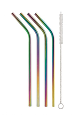 Harold Import Company Inc. Rainbow Drinking Straws, Set 4