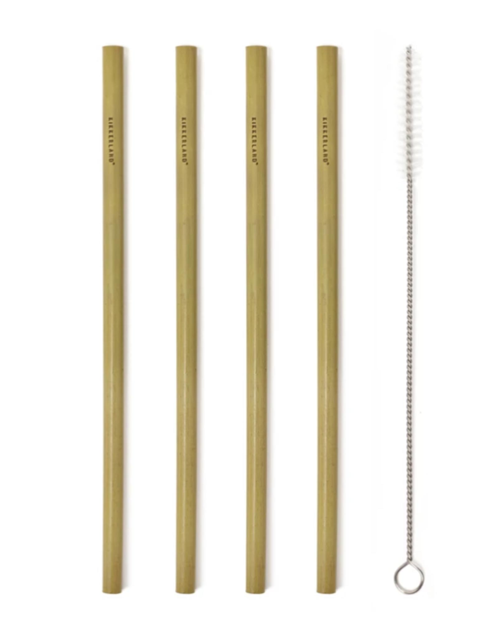 Kikkerland Natural Bamboo Straws, Set 8