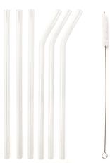 Kikkerland Glass Straws, clear