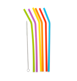 RSVP Set 6 Silicone Straws, Asst Colors