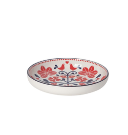 Now Designs Stamped Shallow Bowl, Red Navy Bird
