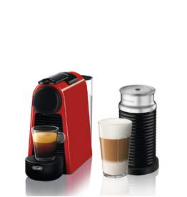 Nespresso Essenza Mini, w/ Aeroccino, Red