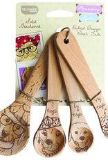 Talisman Design Beechwood Measuring Spoons, Dog, Set4