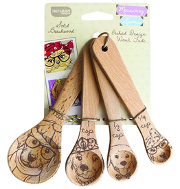 Talisman Design Beechwood Measuring Spoons, Dog, Set4