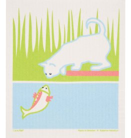 Cose Nuove Swedish Dishcloth, Cat & Fish, Summer