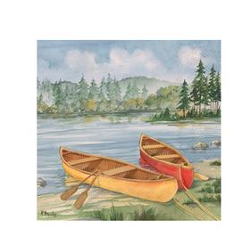 Boston International S20 Cocktail Napkin, Log Cabin Canoe