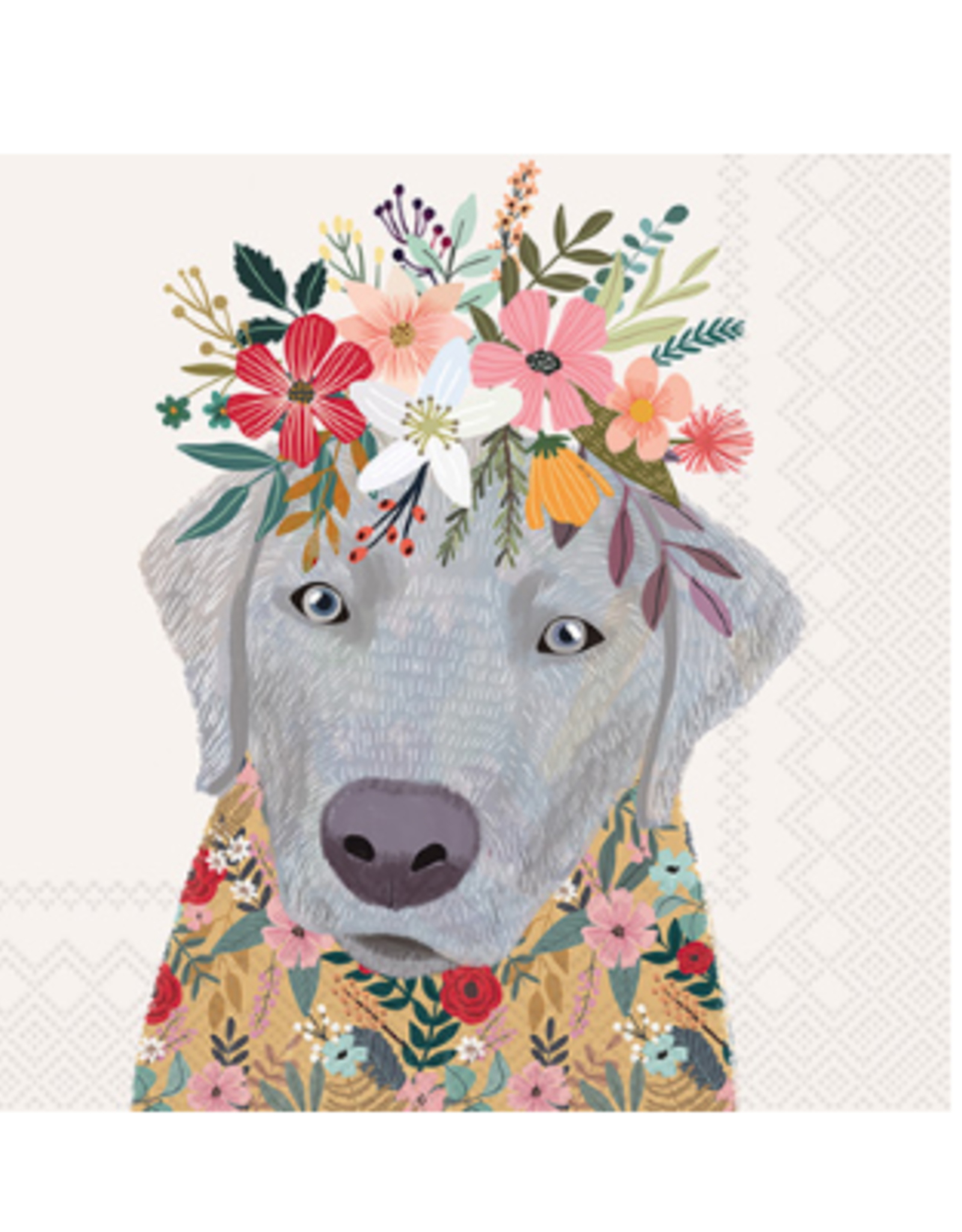 Boston International S20 Luncheon Napkin, Floral Dog