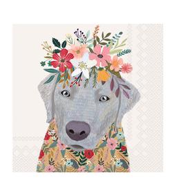 Boston International S20 Luncheon Napkin, Floral Dog