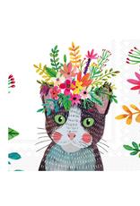 Boston International S20 Luncheon Napkin, Floral Cat