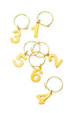 True Fabrications Belmont Number Wine Charms, Gold
