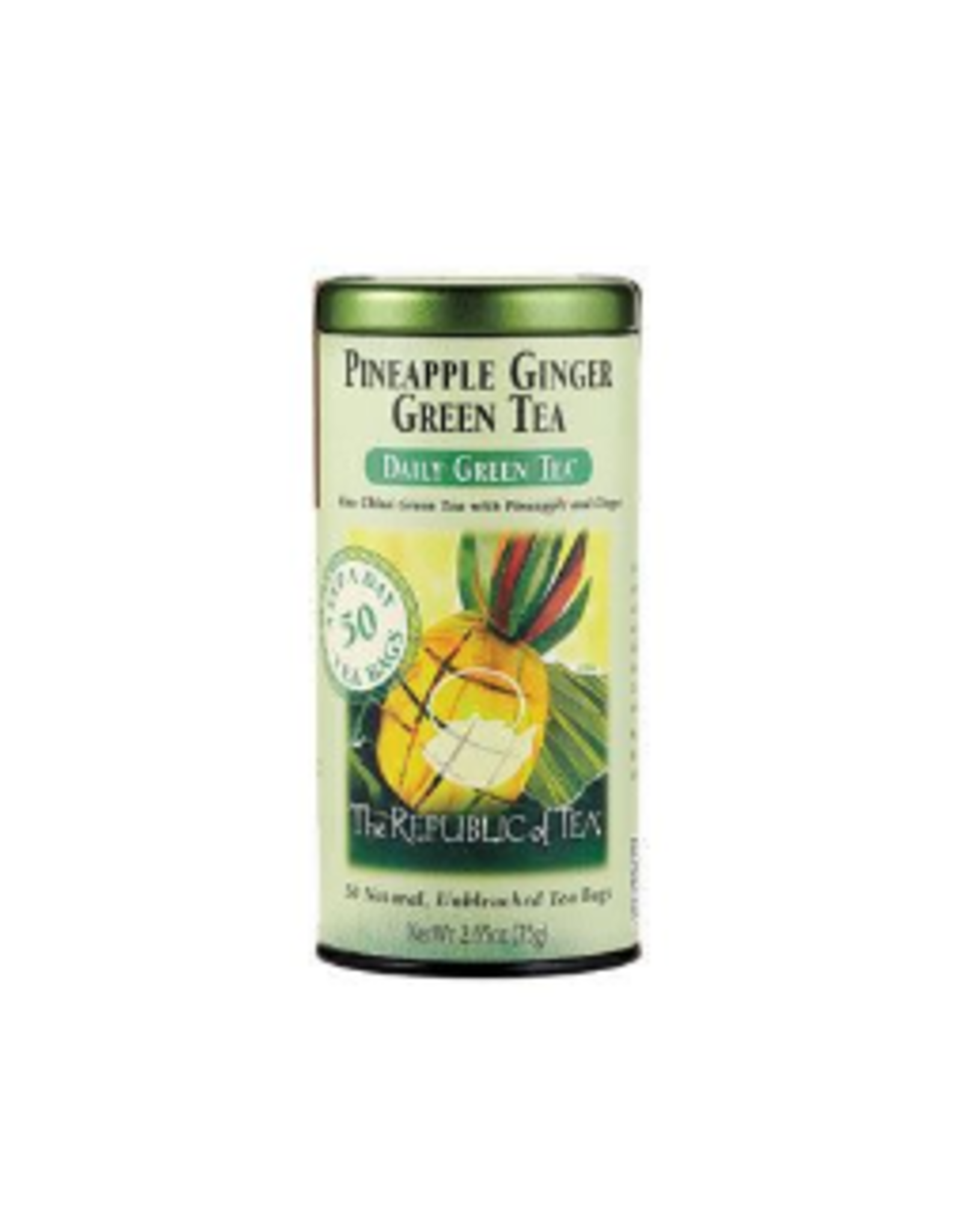 The Republic of Tea Pineapple Ginger Green Tea, 50 Bag Tin