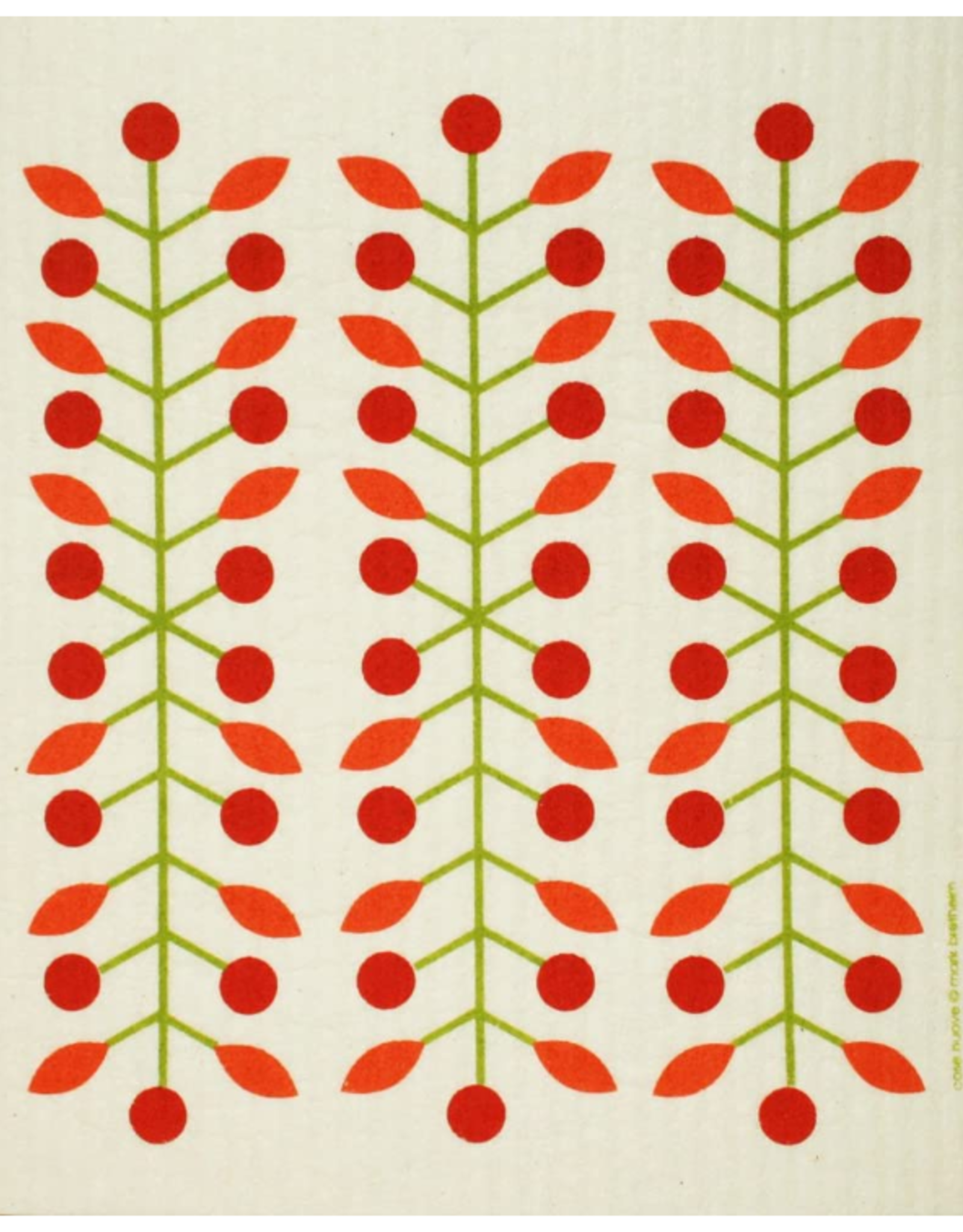 Cose Nuove Swedish Dishcloth, Berry Branch, Red, All Year