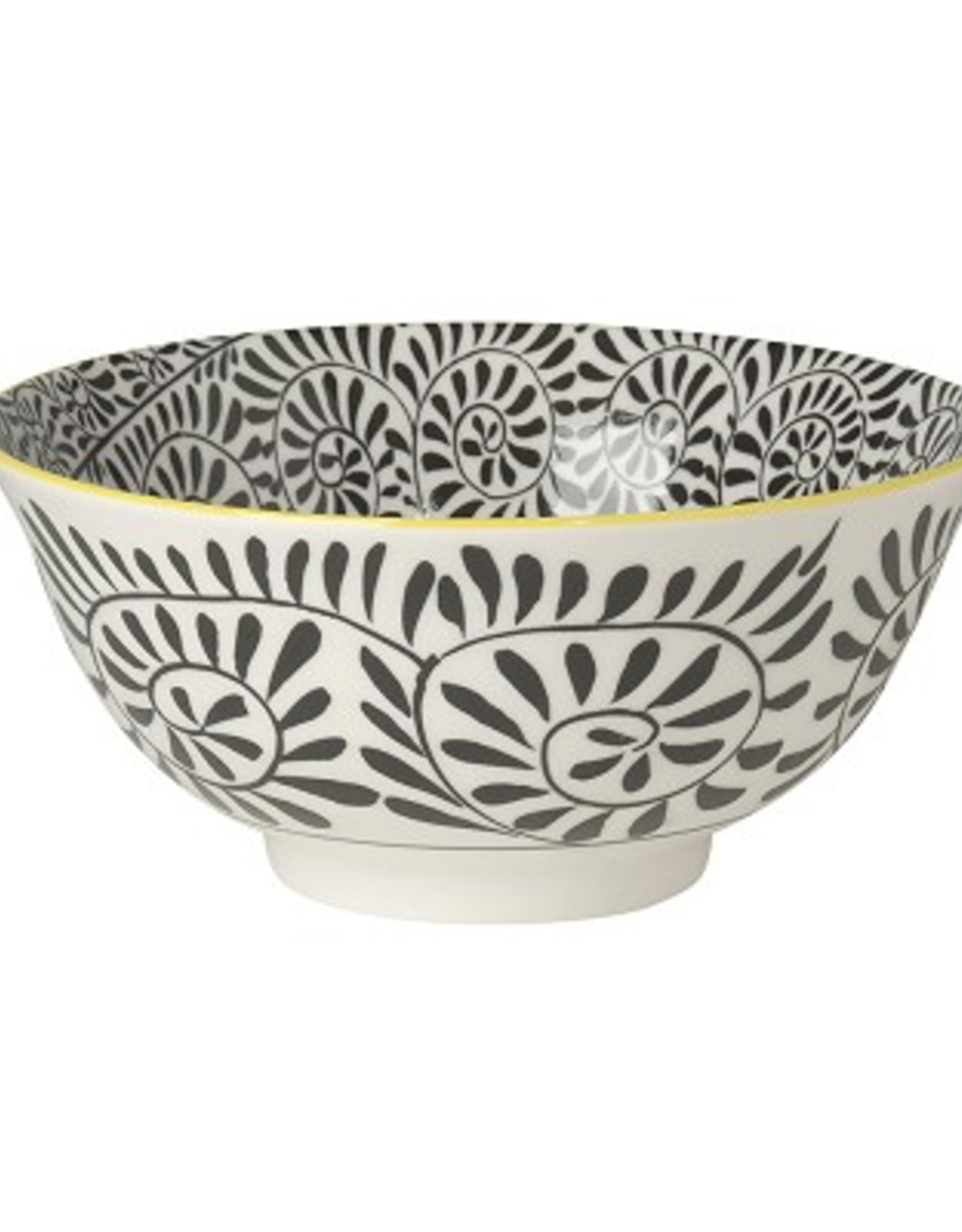 Now Designs Stamped Bowl, Black Vines